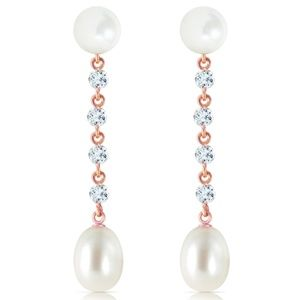 CHANDELIERS EARRINGS WITH AQUAMARINE & PEARL